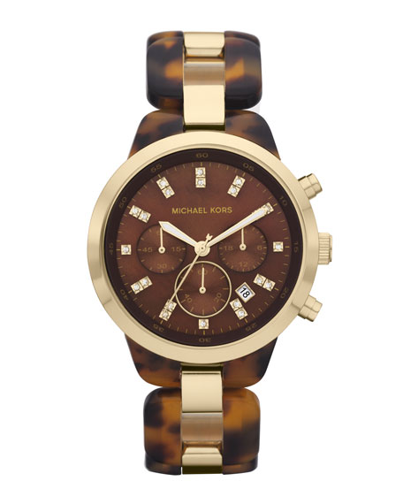 Mid-Size Showstopper Chronograph Watch, Tortoise Acetate