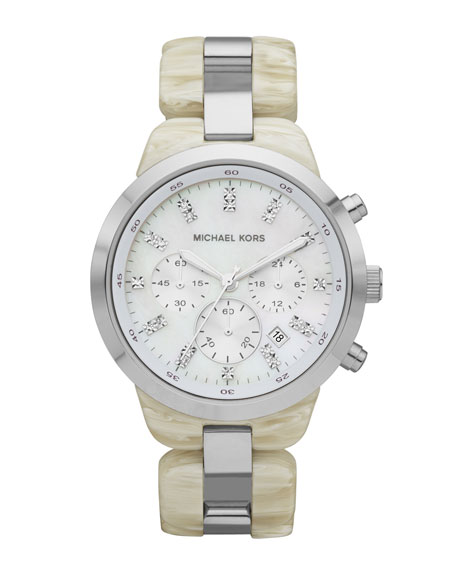 Mid-Size Showstopper Chronograph Watch, Alabaster Acetate