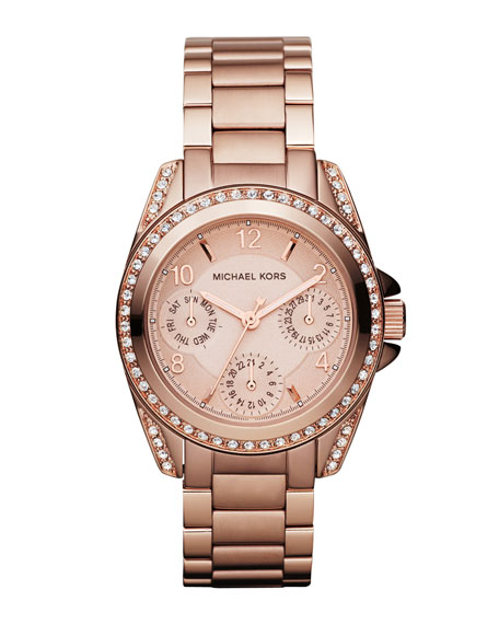 Michael Kors Mini-Size Blair Multi-Function Glitz Watch, Rose