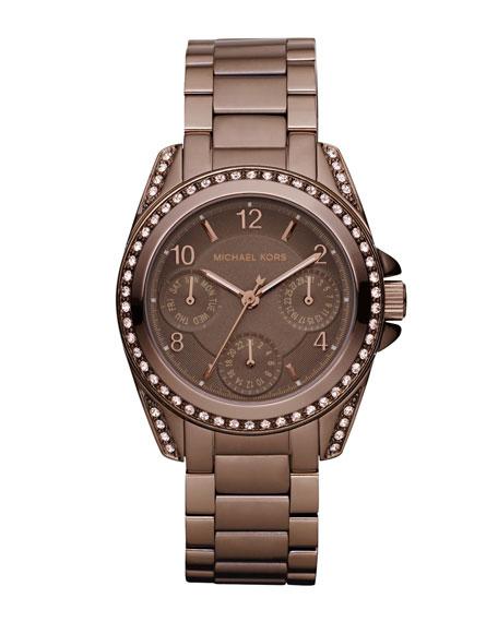 Mini-Size Blair Multi-Function Glitz Watch, Espresso