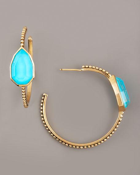 Turquoise Cathedral Hoop Earrings