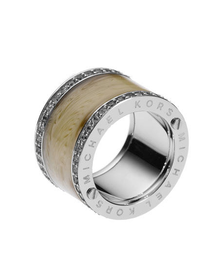 Horn Design Barrel Ring with Pave Detail