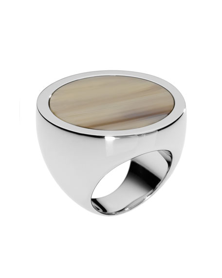 Silver-Color Slice Ring with Horn Design Detail