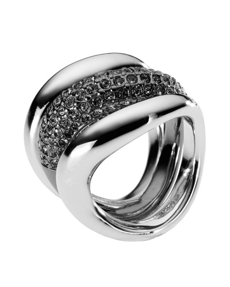 Pave Stack Ring, Hematite Color