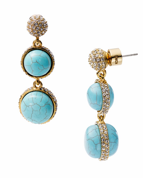 Turquoise Double Drop Earring with Pave Detail