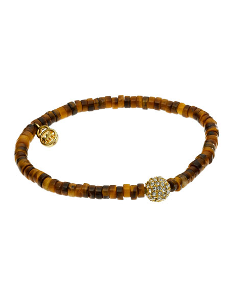 Tiger's Eye Stretch Bracelet with Pave Fireball Detail