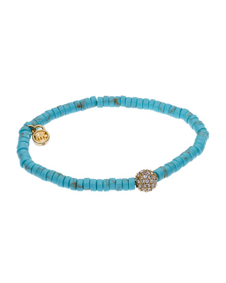 Turquoise Stretch Bracelet with Pave Fireball Detail