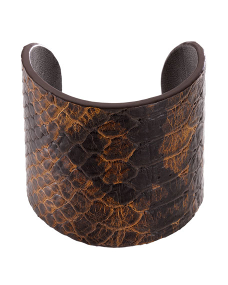 Embossed Snake Leather Cuff Bracelet