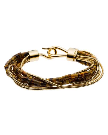 Tiger's Eye Snake Chain Multi-Strand Bracelet