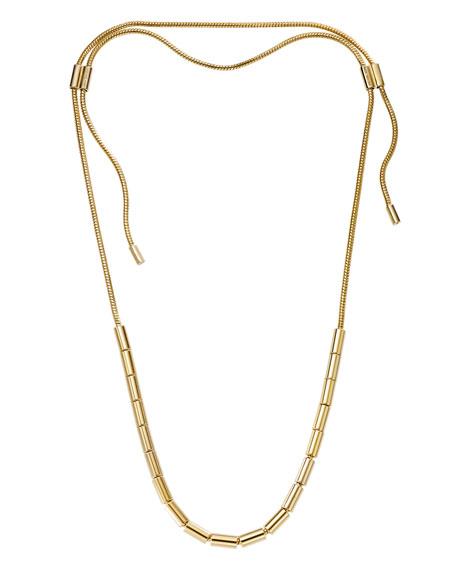 Golden Tubular Bead Snake-Chain Necklace