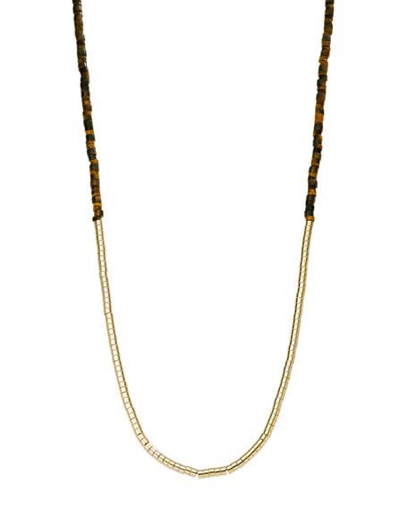 Tiger's Eye Tubular Bead Necklace with Pave Detail