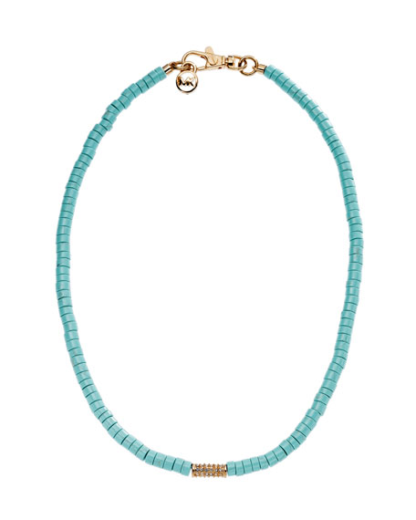 Turquoise Bead Necklace with Pave Detail