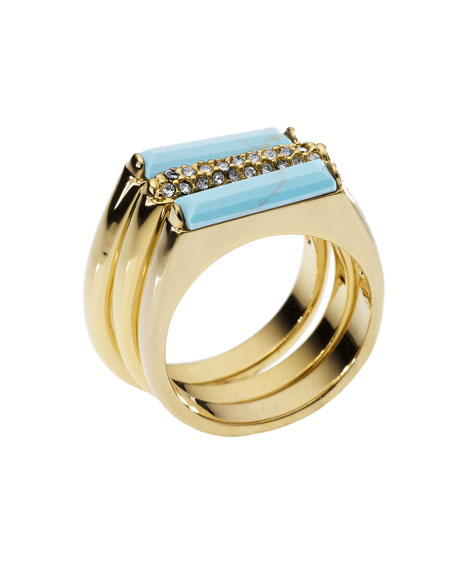 Turquoise Stack Ring with Pave Detail