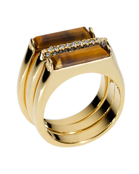 Tiger's Eye Stack Ring with Pave Detail