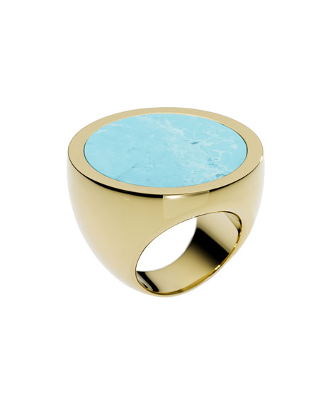 Golden Slice Ring with Turquoise Detail