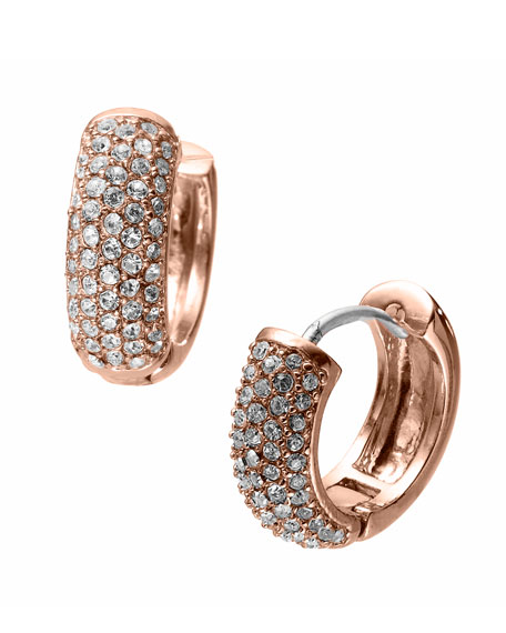 Golden Huggie Earrings with Pave Detail