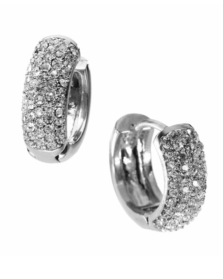 Silver-Color Huggie Earrings with Pave Detail