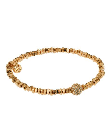 Golden Stretch Bracelet with Pave Fireball