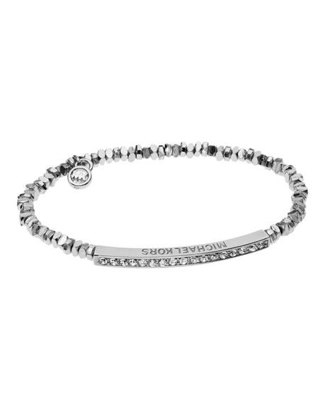 Silver-Color Stretch Bracelet with Pave Bar Detail