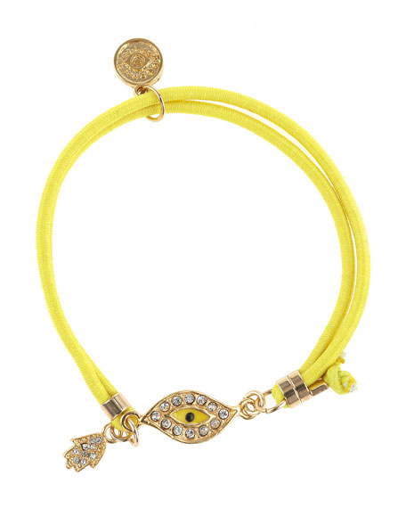 Elastic Evil Eye Bracelet, Yellow