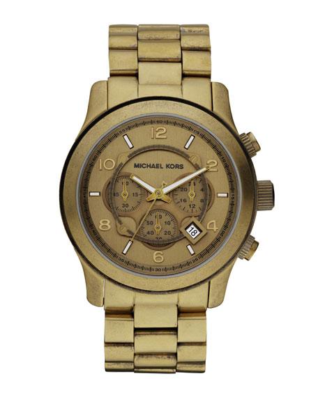 Oversized Runway Chronograph Watch, Bronze
