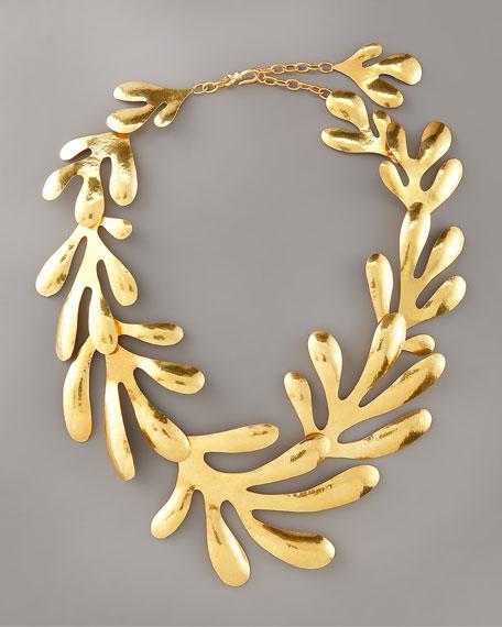 "Coral Bib Necklace, 15""L"
