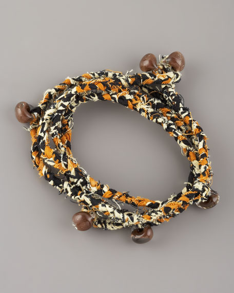 Beaded Woven Wrap Bracelet, Orange/Multicolor