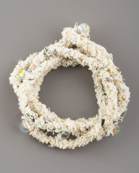 Beaded Woven Wrap Bracelet, White