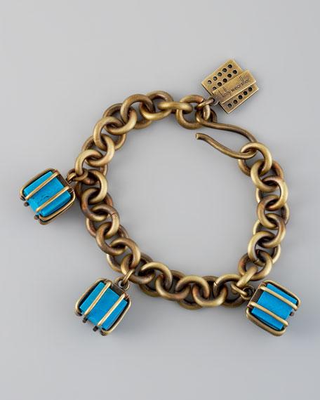 Turquoise Cube Charm Bracelet