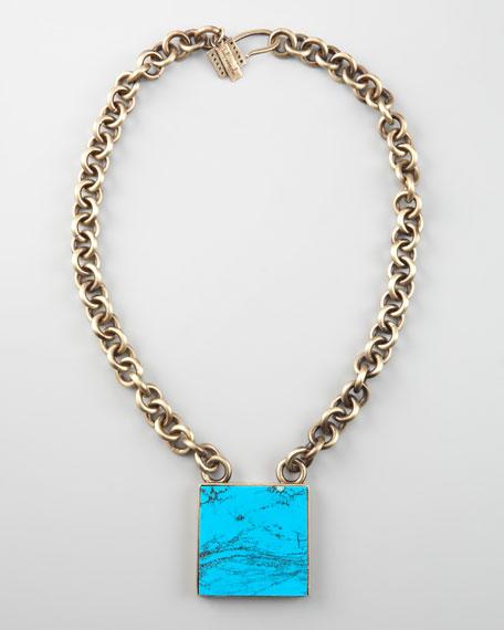 Square Turquoise Pendant Necklace
