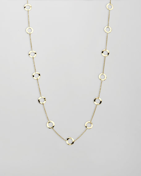 "Gold Circle-Station Necklace, 18""L"