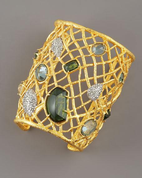 Multi-Stone Woven Cuff, Gold