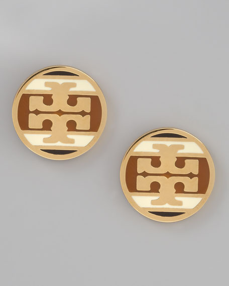 Enamel Striped Logo Earrings, Caramel
