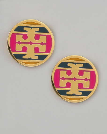 Enamel Striped Logo Earrings, Magenta