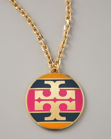 Striped Logo Pendant Necklace, Magenta