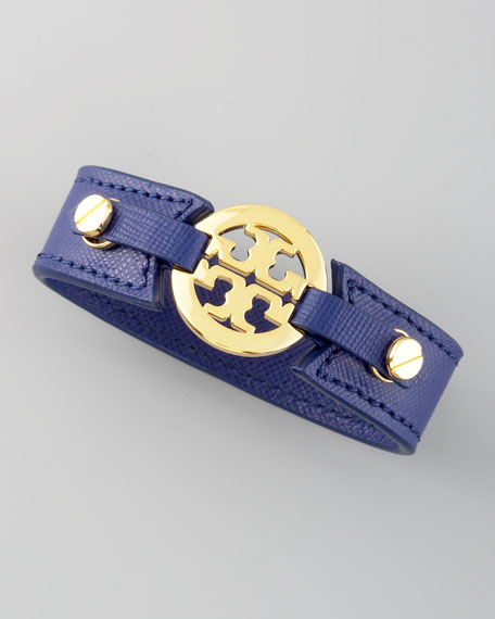 Etched Leather Logo Cuff, Blue
