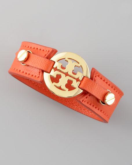 Etched Leather Logo Cuff, Orange