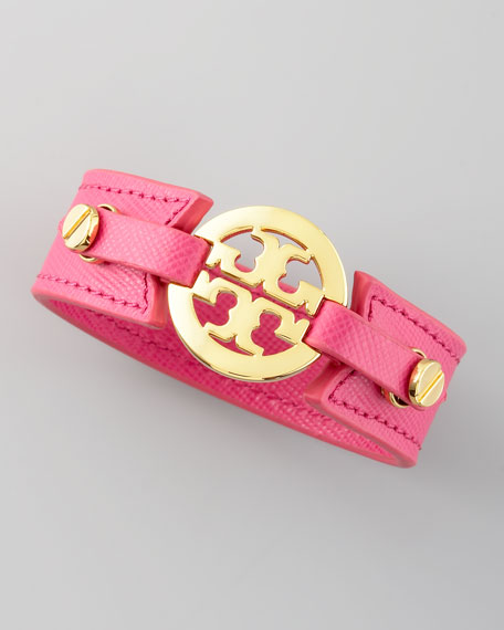 Etched Leather Logo Cuff, Pink