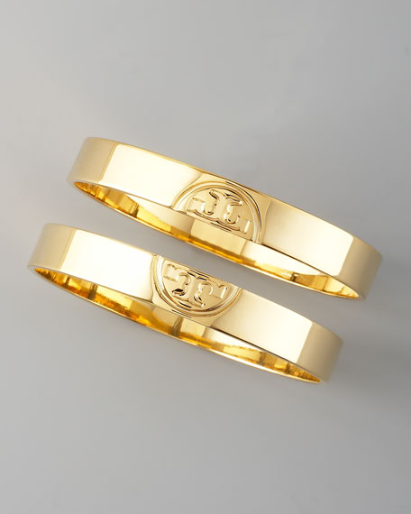 Gold Twin Logo Bangles, Two-Piece Set