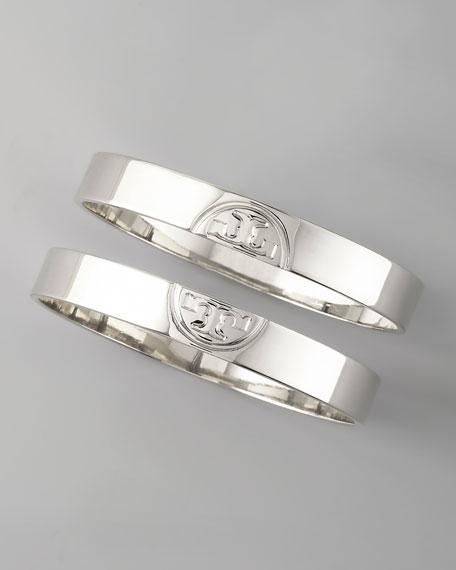 Silver Twin Logo Bangles, Two-Piece Set
