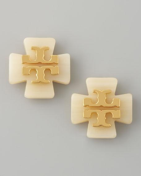 Clover Logo Earrings, White