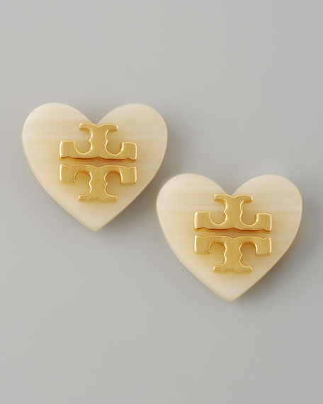 Logo Heart Stud Earrings, White