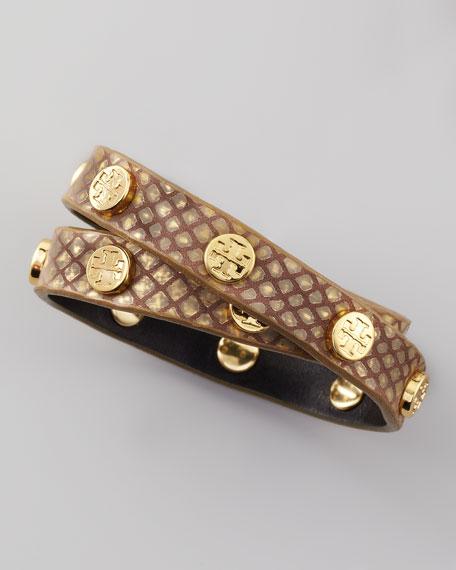 Logo-Studded Wrap Bracelet, Gold