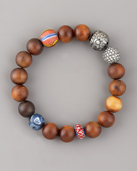 Cubic Zirconia & Wood-Bead Bracelet
