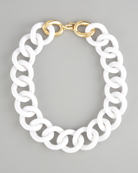 Chunky Resin-Link Necklace, White
