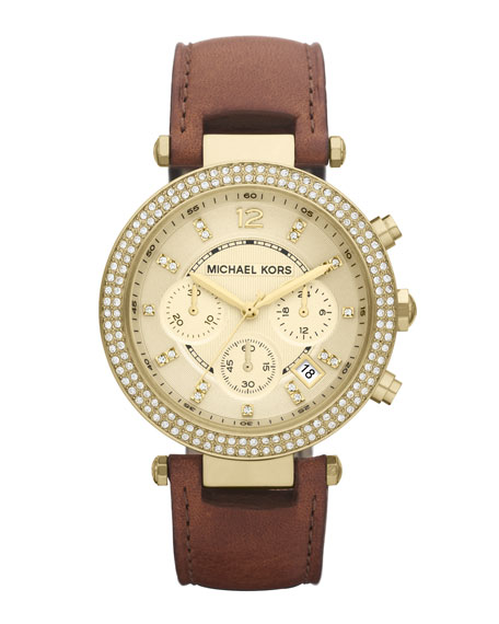 Mid-Size Parker Chronograph Glitz Watch, Golden
