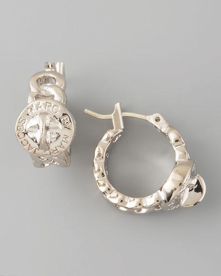 Katie Huggie Earrings, Silvertone