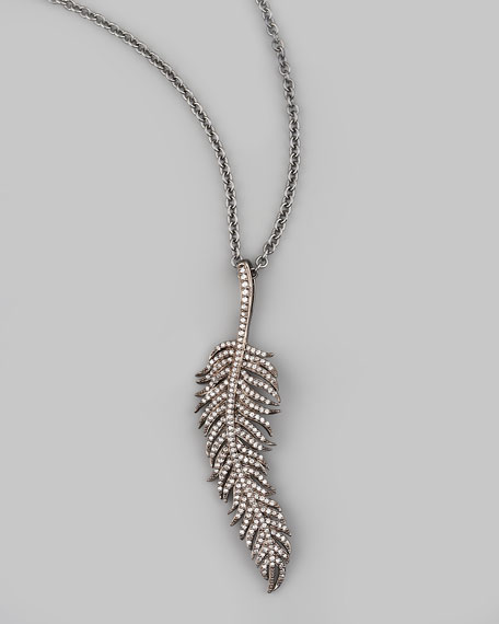 "Feather Pendant Necklace, 30""L"