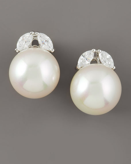 Pearl & CZ Stud Earrings