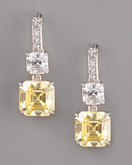 Asscher-Cut Canary Cubic Zirconia Earrings